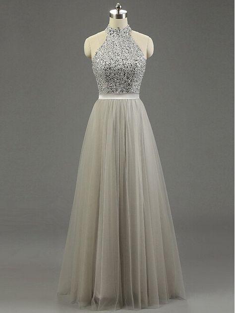Halter Prom Dresses, Floor-Length Beading Evening Dresses, Real Made Charming Evening Dresses