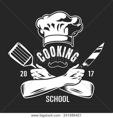 Vintage Cooking Classes Logo With Chef Hat Mustache Crossed Arms Holding Knife And Spatula On Dark B Vintage Cooking Chef Logo Cooking Logo