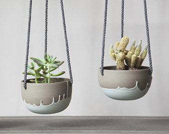 Small Plant Hanger Turquoise And Grey Ceramic Hanging Planter Cute Planter Cactus Succulent Ceramic Succulent Pots Small Potted Plants Ceramic Flower Pots