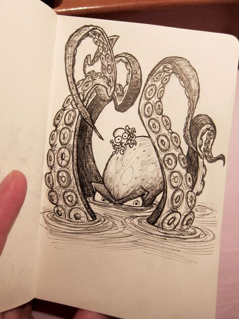 Octopus illustration half submerged under water Octopus Drawing, Octopus Art, Octopus Tattoos, Octopus Sketch, Squid Drawing, Octopus Illustration, Angry Octopus, Octopus Tattoo Design, Baby Octopus