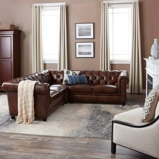 Knightsbridge Tufted Chesterfield L shaped Sectional by