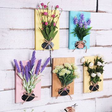 Color Wood Board Simulation Flower Ornament Wall Living Room Cafe