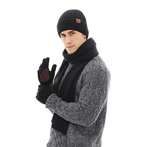 JTJFIT 3PCS In 1 Winter Warm Thick Knit Beanie Hat + Long Scarf + Non-Slip Touchscreen Driving Gloves Gift Set for Men | Jodyshop