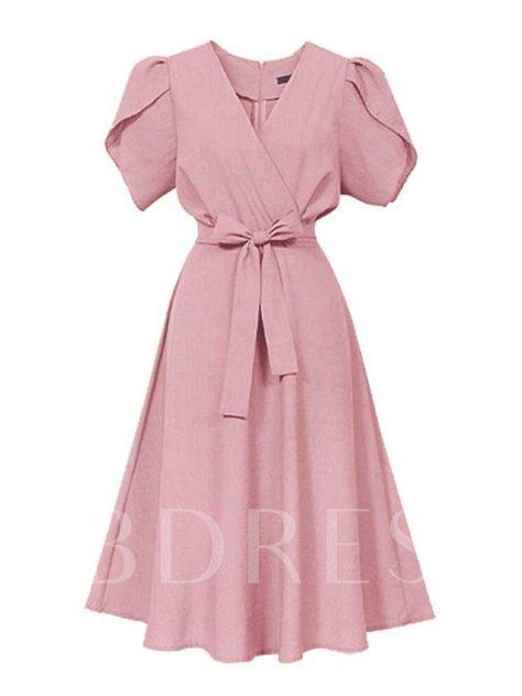 Short Sleeve High-Waist Belt Day Dress - Tbdress.com