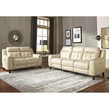 Campania 2 Piece Leather Power Reclining Set With Power Headrests Sofa Loveseat Power Reclining Sofa Reclining Sofa Best Leather Sofa