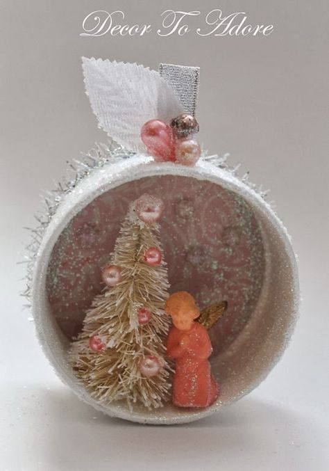 ornament...This is a cute idea and very pretty!....Start saving little cans and lids!