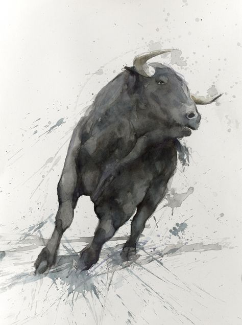 Spanish Bull Bull Painting Cow Art Bull Art
