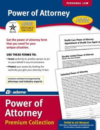 Adams Power of Attorney Forms Pack, 85 x 11 Inches, White, 6-Pack - power of attorney