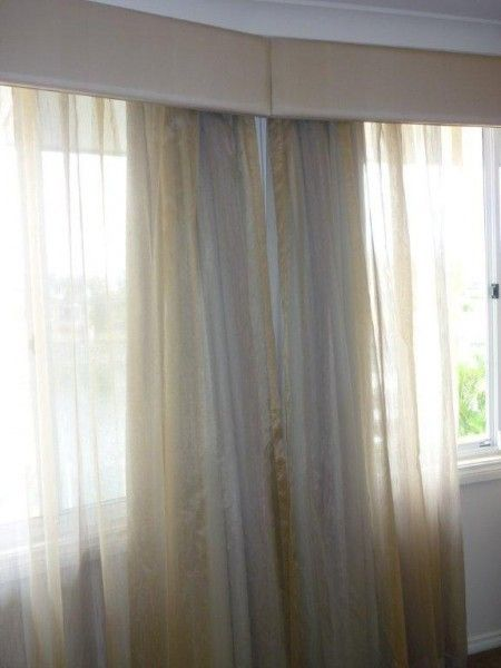 Long Gathered Header Sheer Curtains With Blackout Behind