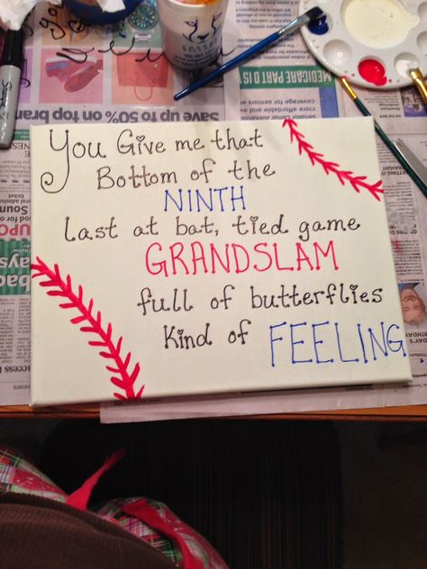 "Baseball Canvas Anniversary Gift. ""You give me that bottom of the ninth last at bat tied ball game grand slam full of butterflies kind of feeling"""