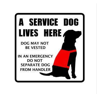 A Service Dog Lives Here Vinyl Decal Custom Breed Service Dog