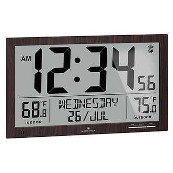 Marathon Atomic Full Calendar Clock With Indoor Outdoor Temperature In 2020 Clock Digital Clocks Wall Calendar