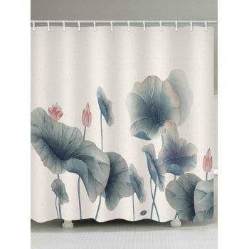 Free Shipping 2018 Lotus Leaves And Lotus Print Bathroom Water