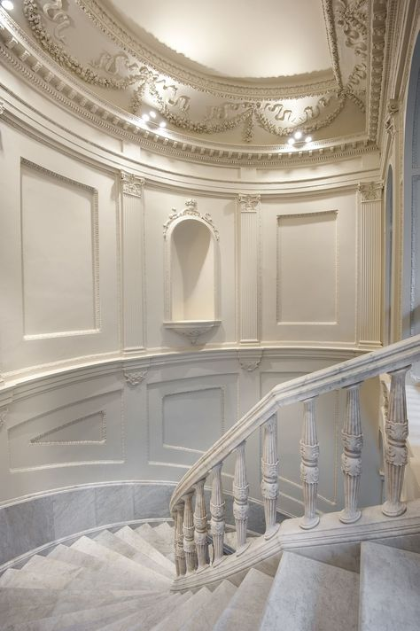 Mercer Hotel Sevilla, Seville, 2016 - Cruz y Ortiz Arquitectos Marble Staircase, Staircase Design, Spiral Staircase, Staircases, Baroque Architecture, Beautiful Architecture, Architecture Details, Mansion Interior, Interior And Exterior