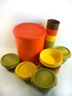 Tupperware we had in the cupboards for ever! I still have 1 bowl and lid left. Remember that green?! Lol
