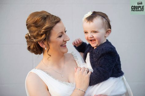 820aaeae923 The Bride   her baby girl smiling before the wedding. Wedding at Castle  Dargan Hotel Photographed by Couple Photography. Ireland.