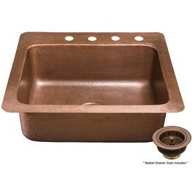 Aquasource Hammered Antique Copper 4 Hole Single Basin Copper Kitchen Sink With Images Copper Kitchen Sink Commercial Kitchen Sinks Copper Kitchen