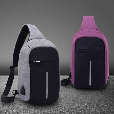 Anti-Theft Men Small Chest Pack USB Charge Polyester Travel Sport Sling Bag New