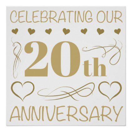 20th Wedding Anniversary Poster Zazzle Com 10th Wedding Anniversary 20 Wedding Anniversary 60 Wedding Anniversary