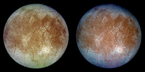 This image shows two views of the trailing hemisphere of Jupiter's ice-covered satellite, Europa. The left image shows the approximate natural ... Credit: NASA/JPL/DLR