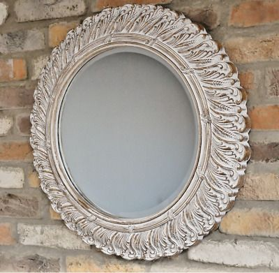 Round Wall Mirror Shabby Chic Ornate Cheval Wall Hanging Living