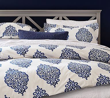 Asher Medallion Organic Percale Duvet Cover Shams Twilight Organic Duvet Covers Cool Beds Simple Bed