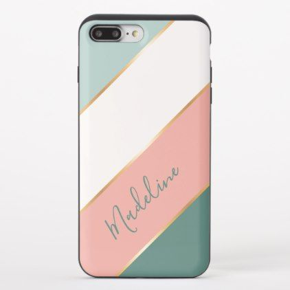 Custom Name Pastel Coral Blush Pink Mint Green Uncommon Iphone Case Zazzle Com Coral Blush Mint Green Whimsical Fashion