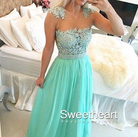Green A-line round neckline Lace Chiffon Long Prom Dresses, Formal Dress #coniefox #2016prom