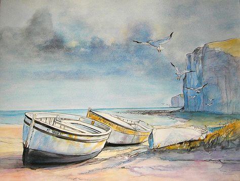 Paysage Normand Aquarellise Peinture Aquarelle Paysage De Mer