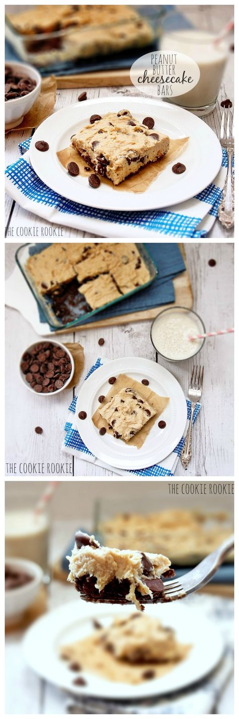 NO BAKE Peanut Butter Chocolate Chip Cheesecake Bars. FAVORITE! {The Cookie Rookie}