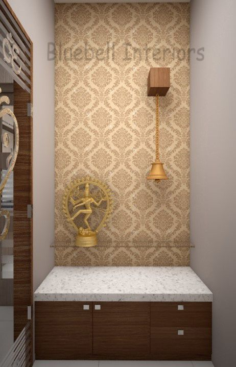 Low Height Unit White Granite Wall Paper In Pooja Room Pooja Room Door Design Pooja Rooms Door Design Interior