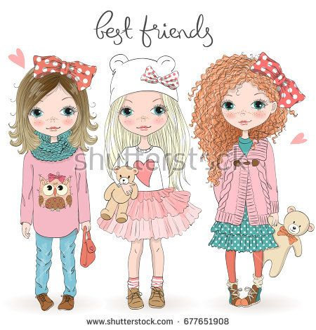 Three Hand Drawn Beautiful Cute Little Girls With Teddy Bears On