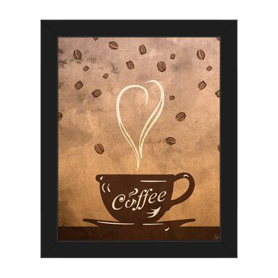 Click Wall Art Cup Of Coffee Framed Painting Print On Canvas Format Black Framed Size 10 5 H X 12 5 W Coffee Painting Canvas Canvas Painting Diy Cup Art