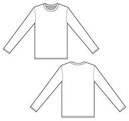 Download Long Sleeve T Shirt Set Vector Illustration Flat Sketches Template Flat Sketches Shirt Sketch T Shirt Design Template