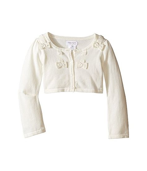 Little Girl 2T-6X White Flower Embroidered Scallop Bolero Cardigan Shrug//Sweater