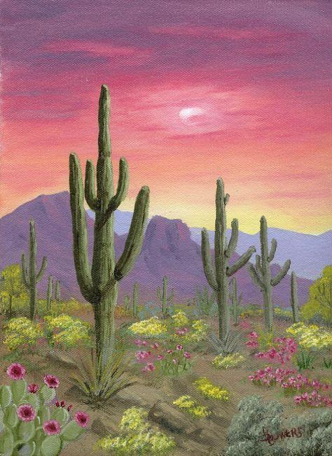 Desert sunsets,Southwest Paintings, Arizona Landscapes by Brenda Bowers