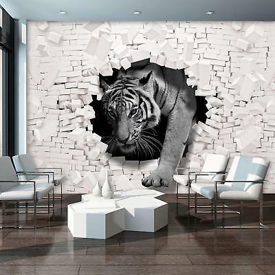 Fototapete Tapete Wandbild Vlies 1d20167448 3d Tiger Kommt Aus Der Wand Fototapete Wandbilder Tapeten