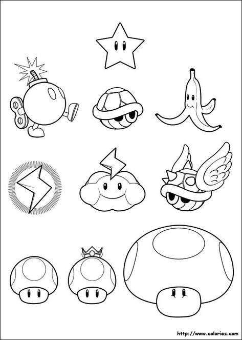 Les Armes De Mario Kart Coloriage Mario Dessin De Mario Coloriage Mario Kart