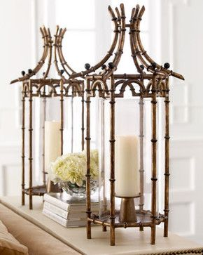 Metal Bamboo Hurricane - traditional - candles and candle holders - Horchow