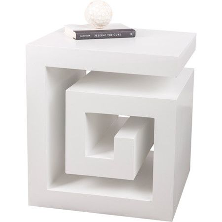 White Finished Wood Side Table With A Greek Key Inspired Design