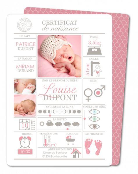 Faire part de naissance certificat de naissance