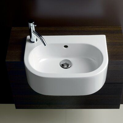 Bissonnet Area Boutique Ceramic U Shaped Vessel Bathroom Sink With Overflow Sink Mount Left Hand Faucet Hole Wall Mounted Bathroom Sinks Sink Wall Mounted Sink