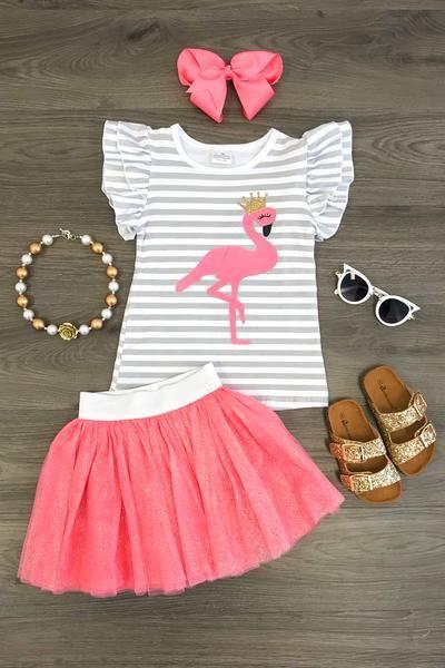 Zutano Little Girls Flamingo Ruffle Hem Dress