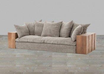 Stonewash Jute Sofa With Reclaimed Wood Arms Sofa Fabric Sofa Modern Sofa