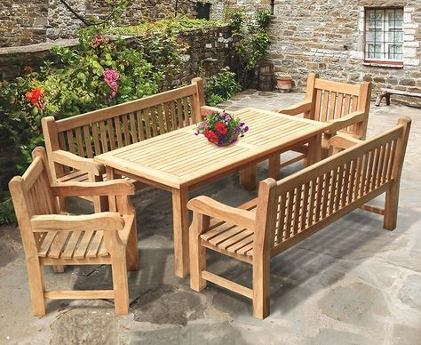 Amazing Balmoral Teak Dining Table And Benches Set 1 8M Fine Gmtry Best Dining Table And Chair Ideas Images Gmtryco