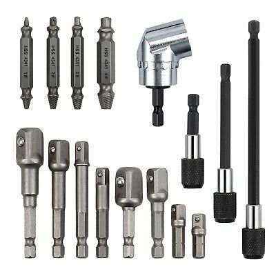 Details About 1 4 Hex Shank Socket Adapter Drill Bit Damaged Screw Remover Angle Drill Adapter In 2020 Drill Bit Sets Angle Drill Extension Tools