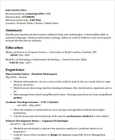 Data Science 4-Resume Examples Resume examples, Resume templates