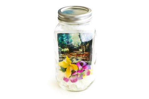 Claude Monets Water Lily Pond and Bridge Polaroid in a Lighted Mason Jar (batteries included)