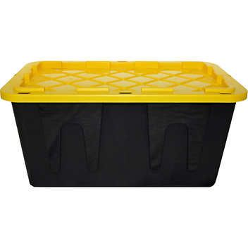 Plastic Storage Bin With Lid 27 Gallon Black And Yellow