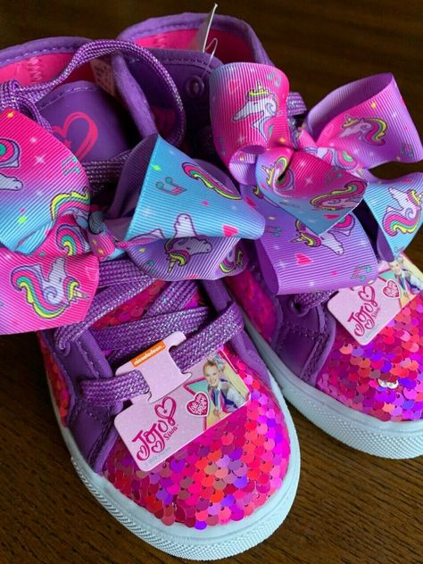 (🏷 Price $34.99 🎀) Jojo Siwa Pink Purple Flip Sequence Bow Shoes High Top Sneakers